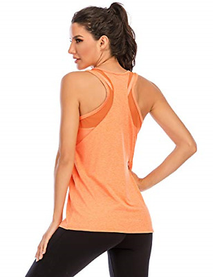 Nekosi Women Workout Tank Top Yoga Shirts Mesh Tops Sleeveless Fitness Racerback • 19.95£