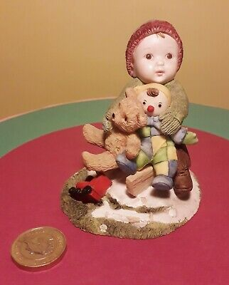 Rare Country Artists Tots Baby Boy Sledging With Teddy Off We Go 1999 Figurine • 8.99£