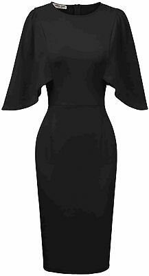 GRACE KARIN Women 3/4 Ruffle Sleeve Slim Fit Business Pencil, Black, Size • 12.99£