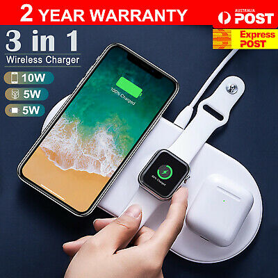 AU19.99 • Buy 3 In1 QI Wireless Charger Charging Dock Station For Apple Watch / IPhone Pods AU