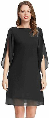 GRACE KARIN Women Summer Beach Chiffon Dress Loose Casual, Black, Size X-Large • 12.99£