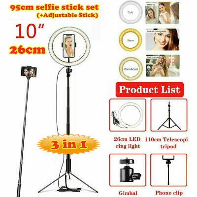 AU18.96 • Buy 10  LED Ring Light Dimmable Lighting Kit Phone Selfie Tripod Stand Youtube Live