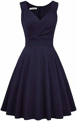 GRACE KARIN Sexy Sleeveless Summer Dress Knee Length, Navy Blue, Size X-Large • 12.99£