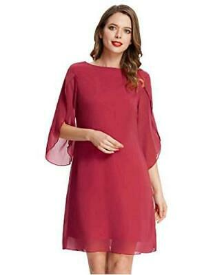 GRACE KARIN Women Loose Chiffon Dress Elegant Evening Dress, Wine Red, Size • 14.99£
