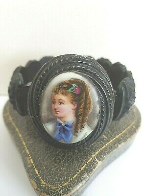 Antique Victorian Jet  Painted  Cameo  Cuff Bracelet 1880  Goth Mourning   • 139£