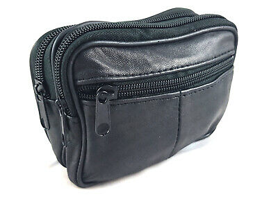 Black Real Leather Zip Coin Pouch Belt Purse Mini Bum Bag Trader Waist Case • 5.49£