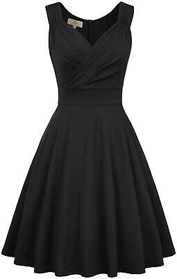 GRACE KARIN Women's V-Neck Sleeveless Cocktail Dresses A-Line, Black, Size • 12.99£