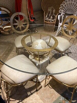 Glass & Brass Globe Dining Room Table & Chairs • 850£