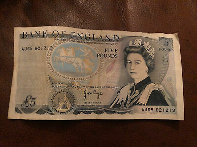 Bank Of England Old £5 Five Pound Note Duke Of Wellington - John Page • 5.50£
