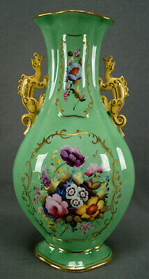 Minton Hand Painted Floral Gold & Green Chinese Form Dragon Handle Vase C. 1820 • 435.21£