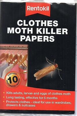 Rentokil Clothes Moth Killer Papers 10 Strips Pack Kills Adults, Larvae And Eggs • 4.90£