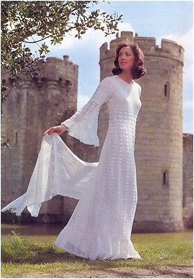 Ladies' 2 Ply Lace Wedding Dress And Stole Crochet Pattern NOT GARMENTS • 3.50£