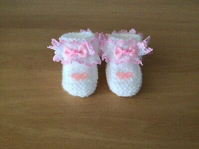 Baby Girls New Hand Knitted Booties Newborn White / Pink Lace & Bow • 1.99£