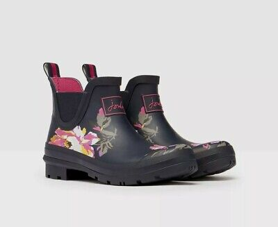 New Joules Womens  Wellibobs -navy Pink Flowers Size 5 • 43£