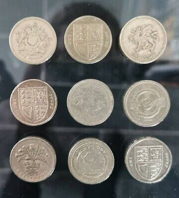 9x Old Round Pound £1 Coins Job Lot 2 • 10£