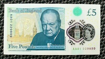 AA01 Low Serial Number £5 Five Pound Note Polymer Rare First Run Collectable • 3.99£