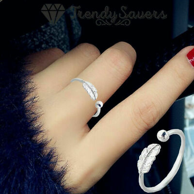 100% 925 Sterling Silver Adjustable Open Rings Women Feather Thumb Stackable  • 3.99£