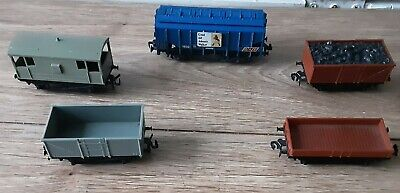 5 X Trix Late Issue Wagons Inc Bulk Grain Wagon In Very Good Complete Condition • 3£