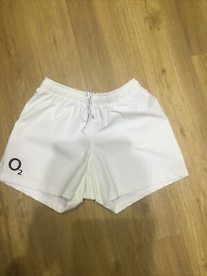 Mens White England Rugby Shorts Size 34 • 3.50£