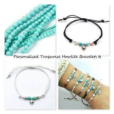 £2.50 • Buy Personalised Turquoise Initial Letter Cord/string Bracelet/silver Charm Bead