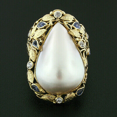$1230.24 • Buy Antique Arts And Crafts 14k Gold Pear Mabe Pearl Diamond & Sapphire Vine Ring