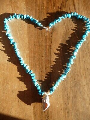 Beautiful Turquoise Coloured Necklace With Holy Island Shell And Freshwater Pear • 6.50£
