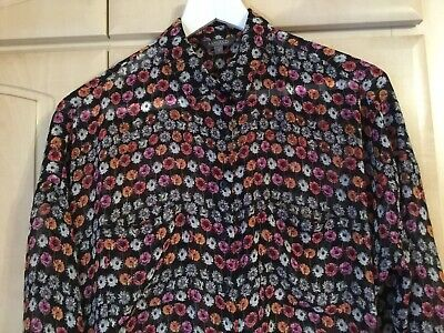 M & S LIMITED COLLECTION Long Flowery Shirt Black/Pink/ Ivory SIZE 12 • 4£