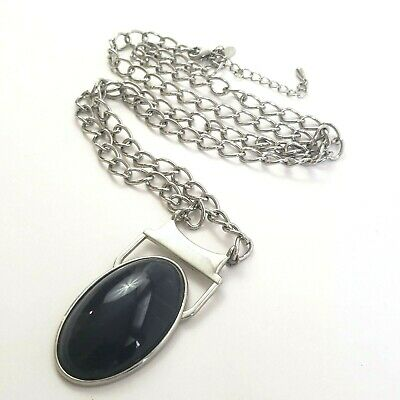 $ CDN6.35 • Buy Lia Sophia Silver Tone Necklace Chain Link Large Blue Oval Pendant Signed