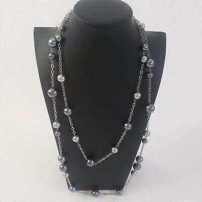 $ CDN6.35 • Buy Lia Sophia Silver Tone Necklace Chain Link Imitation Pearl Purple Blue Signed