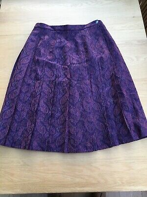 Cotswold Collections 100% Pure Tweed Wool Pleated Skirt Size 16 Uk Lined Purple • 19.99£