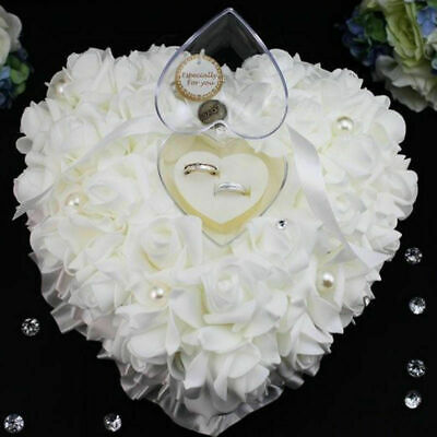 New Ivory Lace Wedding Ring Bearer Cushion Pillow Flower Girl Pearls Crystal • 5.35£