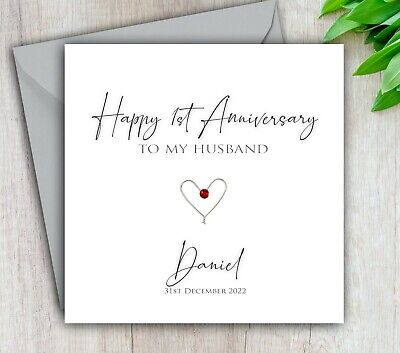 £4.95 • Buy Anniversary Card Husband, 1st 2nd 3rd 5th 10th ANY Year Personalised Handmade