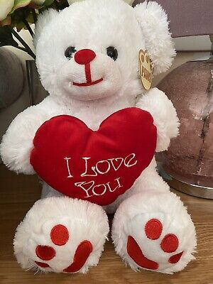 I Love You Plush White Teddy Bear With Red Heart Valentine Gift Anniversary • 9.99£