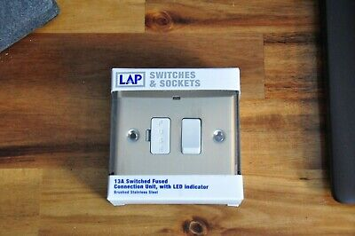 New Boxed LAP 13A Switched Fused Connection Brushed Chome • 10£