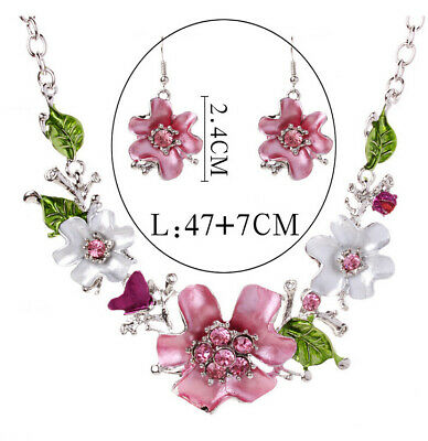 £4.99 • Buy Pink Flowers Silver Crystal Diamantes Necklace Earrings Set Costume Jewellery