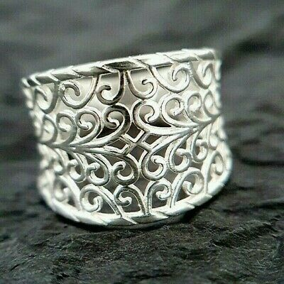Ladies Contemporary Chunky 925 Sterling Silver Filigree Design Ring Size M • 16.95£
