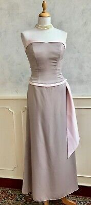 BELSOIE Taupe Pink Metallic Train Hitched Prom Bridesmaid Ball Gown Dress 6-8 • 11£