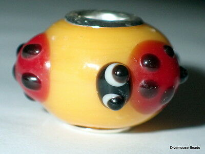 One Glass European Ladybird Charm Bead - Animal Insect Red Yellow Lampwork • 2.50£