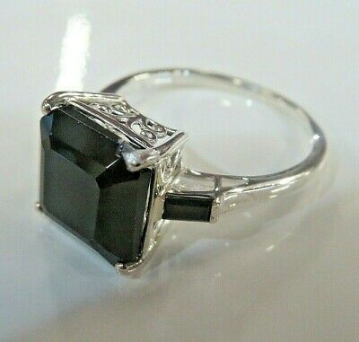 £15 • Buy Substantial 925 Silver & Princess Cut Black Spinel Solitaire Ring  Size S