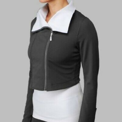$ CDN60 • Buy Lululemon Rare Principal Crop Jacket Size 10 Gray White Asymmetric Moto Yoga