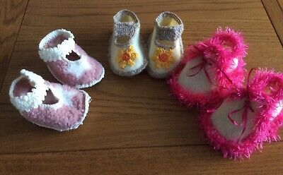 All 3 Pairs Hand Made Baby Shoes 12,13,14cm Non Slip Soles. • 1.50£