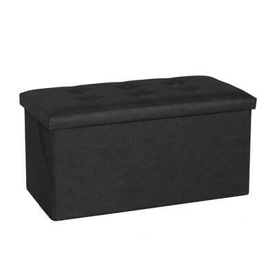 Folding Storage Pouffe Footstool Seat Bench Ottoman Linen Suede Toy Box Black • 18.95£