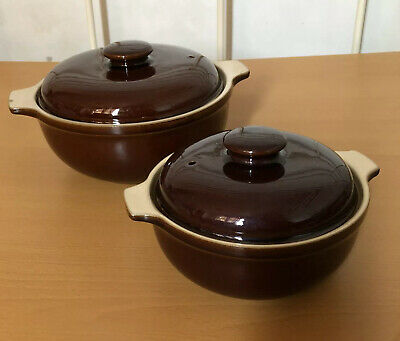 Denby Oven Casserole Dishes Classic Brown Large And Small With Lids • 19£