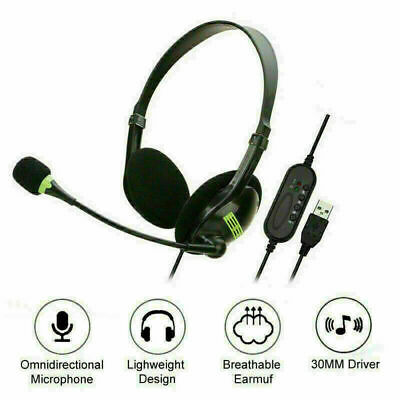 USB Headset Headphones With Microphone Noise Cancelling For Skype Laptop Game UK • 10.48£