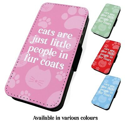 Printed Faux Leather Flip Phone Case For IPhone - Cats Little People • 9.75£