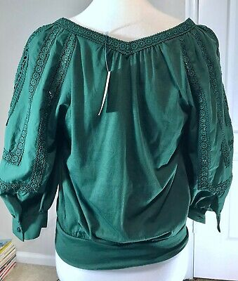 $ CDN63.10 • Buy Anthropologie Green Embroidered Balloon Sleeve Pullover Womens Top Shirt XS NWT