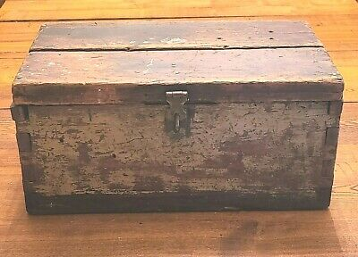 $ CDN63.52 • Buy Antique 18 X 9  Primitive Wooden Dovetailed Tool Chest Box Rustic Mustard Paint