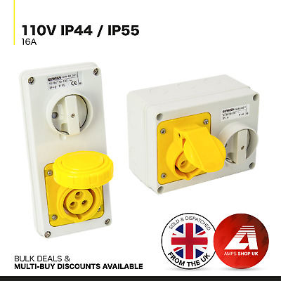 110v Yellow Arctic Grade HookUp Socket Cable Industrial Site Extension Lead IP44