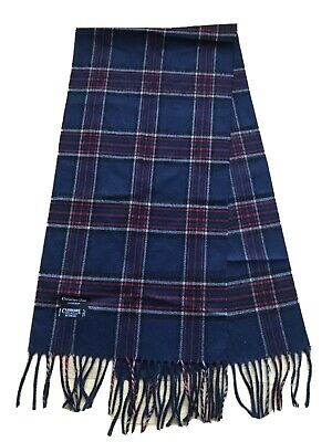 $9.99 • Buy Excellent Cristian Dior Blue Plaid Check Cashmere  Scarf Made In Japan