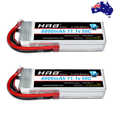 AU129.99 • Buy 2x HRB 11.1V 3S 6000mAh 50C LiPo Battery Deans Plug For Airplane Boat Car Drone